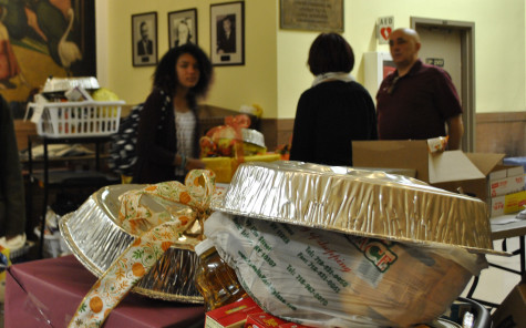 The Thanksgiving baskets were filled to the brim and beautifully decorated.